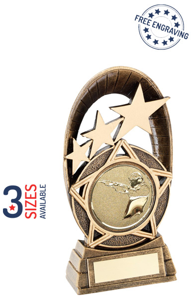 Tri Star Oval Resin Trophy with a Shooting Insert - JR24-RF712