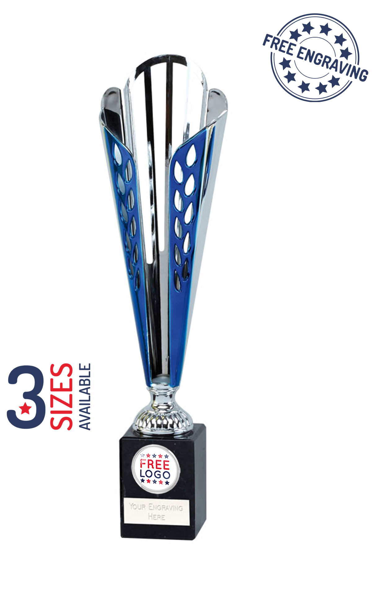 TROPHY CUP AWARD 3 SIZES AVAILABLE ENGRAVED FREE SHIELD SILVER CUPS TROPHIES