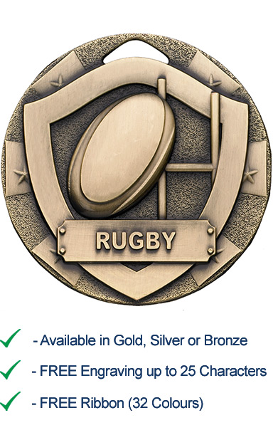 Bronze Rugby Shield Medal - Die Cast - 50mm - FREE RIBBON - G797