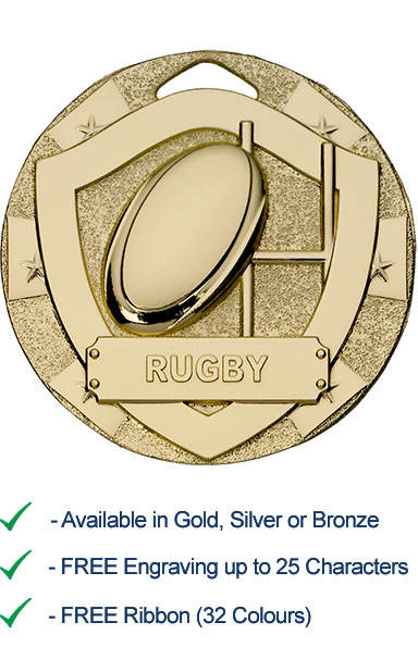 Gold Rugby Shield Medal - Die Cast - 50mm - FREE RIBBON - G795