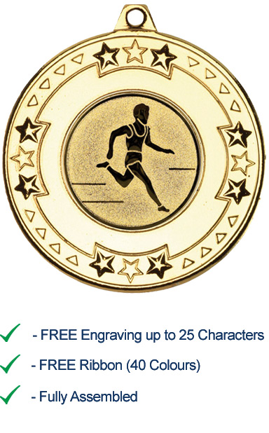 RUNNING FREE ENGRAVING FREE P /& P MEDAL BRONZE WITH RIBBON