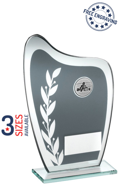KARTING / MOTOR SPORT WREATH CURVED MIRROR GLASS PLAQUE - JR8-TD929