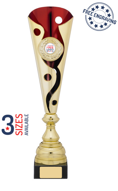 Gold & Red Spiral Trophy Cup- A1042