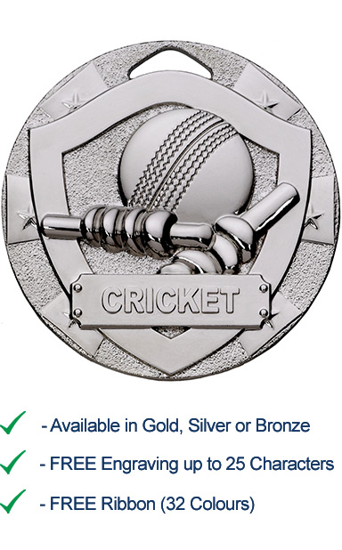 Silver Cricket Shield Medal - Die Cast - 50mm - FREE RIBBON - G761