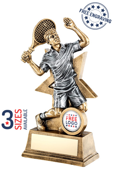 MALE TENNIS PLAYER RESIN TROPHY - RF187