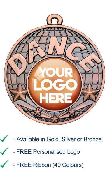 Bronze Dance Medal with Your Logo - Die Cast - 50mm - FREE RIBBON - G867
