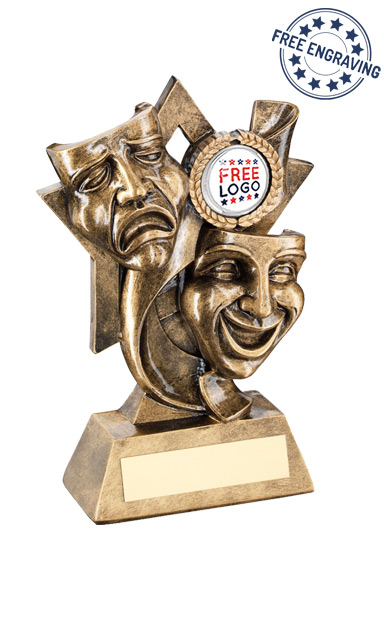 Drama Masks on a Star Backdrop Resin Trophy - RF680