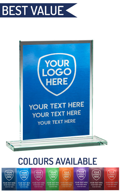 SCHOOL COLOUR ENGRAVED GLASS PLAQUE (16.5cm)