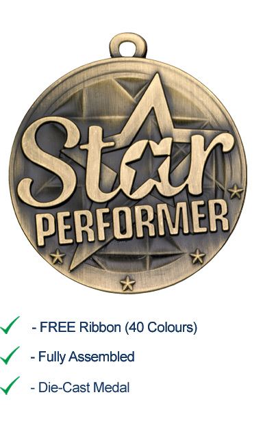 Gold Star Performer Medal - Die Cast - 50mm - FREE RIBBON - G855