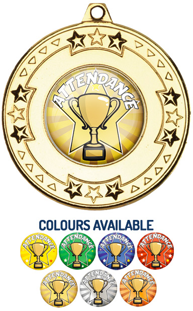 Gold Attendance Medal - M69G - Includes Free Ribbon