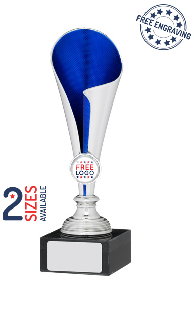 Silver & Blue Coned Trophy Cup- A0994