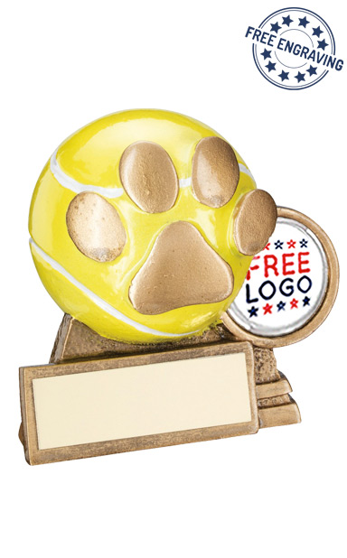 3D Tennis Ball with a Dog Paw Resin Trophy - RF560