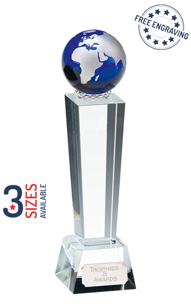 UNITE BLUE GLOBE CRYSTAL GLASS AWARD - KK165