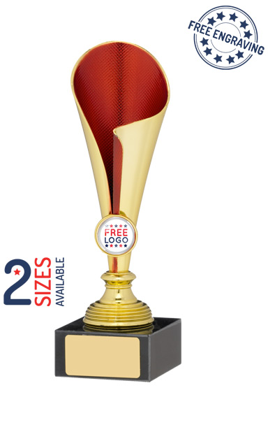 Gold & Red Coned Trophy Cup- A0993